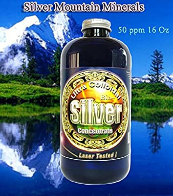 Liquid Silver Solution, 16 Oz, 50 PPM, Silver Mountain Minerals, (Medical Purity Silver, Most Bioavailable colloidally Suspended Nano particulates)