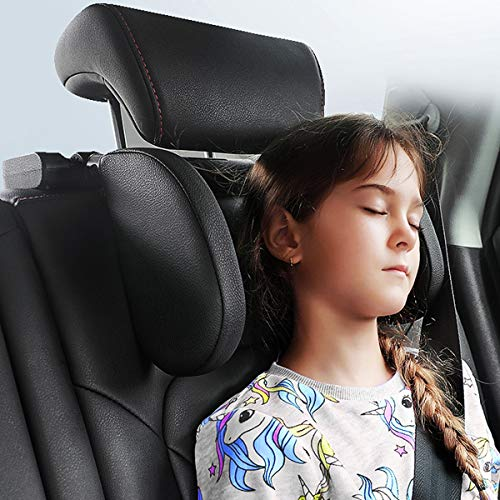 Car Seat Headrest Pillow,Head Neck Support Detachable, Updated Premium Seat Held Pillow, 180 Degree Adjustable Both Sides Travel Sleeping Cushion for Kids Adults (Black)