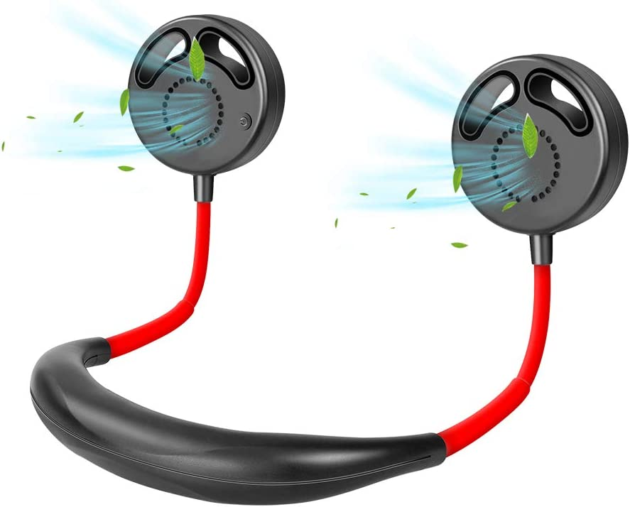 Ansbell Bladeless Neck Fans for Women Men Foldable Portable USB Rechargeable, Long Hair 3 Speed Dual Head 360 Rotation Hands Free Black Mini Face Fans around Neck for Travel Outdoor Office Home