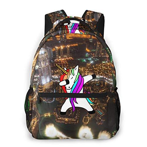 Lawenp Mochila Unisex de Moda Dubai Amazing City Night Bookbag Bolsa de Ordenador portátil Ligera para Viajes Escolares Acampar al Aire Libre