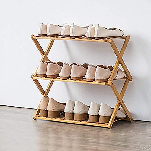 GCE Estante para Zapatos Plegable Estante para Zapatos de bambú Multifuncional de instalación Gratuita Organizador de Almacenamiento de Zapatos para el hogar Independiente para Sala de Estar 1