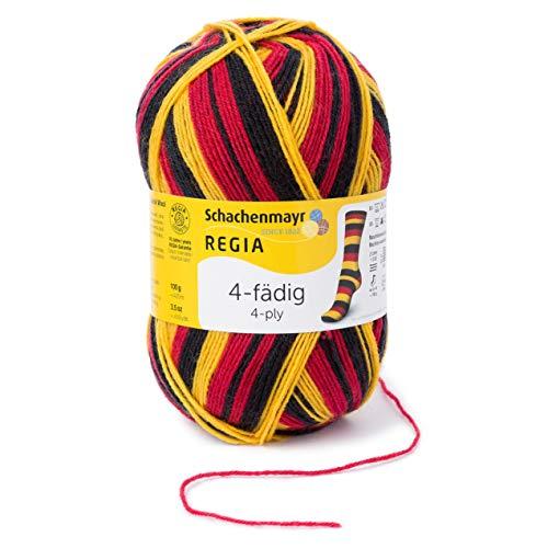 Regia Handstrickgarne Schachenmayr 4-Fädig Color, 100G Schw-Rot-Gold