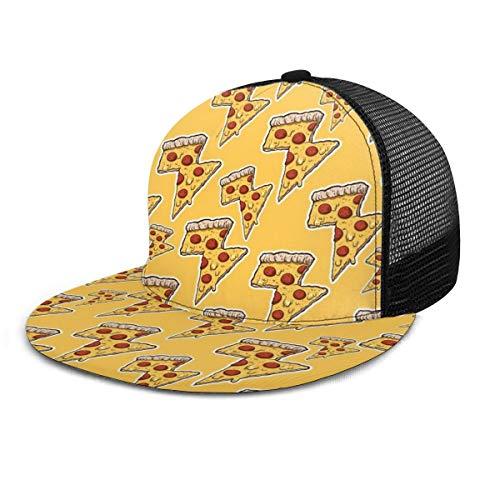 Inaayi Baseballkappe Thunder Cheesy Pizza Erwachsene Unisex Fashion Baseball Caps Mesh Trucker Hut Verstellbare Träger Schwarz