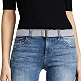 No Show Women Stretch Belt Invisible Elastic Web Strap Belt with Flat Buckle for Jeans Pants Dresses (Suit for US Size 0-16,Grey)
