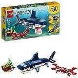 LEGO 31088 Creator 3en1 Criaturas del Fondo Marino, Tiburón o Calamar o Pez Pescador, Juguete de Construcción para Niños 7 años