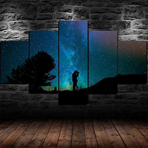 5 Piezas Lienzo Pintura,5 Paneles Cuadros,Impresión HD,Modular Póster,Decoración Hogareña,Mural Abstracto,Regalo,125X60Cm,Amantes, Cielo Estrellado, Noche, Beso,con Marco