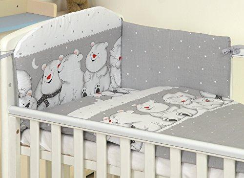 5 pcs Pro Cosmo Parure de lit pour lit et lit d'oreiller Couette tour de lit 100% coton (Grey Teddies, 120x60cm) Nounours Gris
