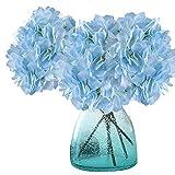 MEIWO Fiori Artificiali, 2 PCS Real Touch Latex Fiori di Seta Ortensia Artificiali in Vasi per Decorazioni Matrimonio/Decorazione Casa/Partito/Graves Arrangiamento(Blu)