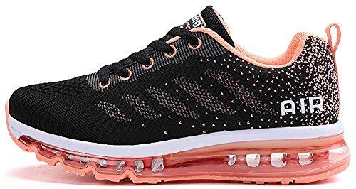 tqgold Sportschuhe Herren Damen Laufschuhe Turnschuhe Sneakers Leichte Schuhe (Schwarze Orange,35 Größe)