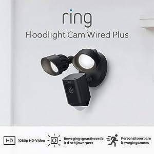 De nieuwe Ring Floodlight Cam Wired Plus van Amazon | 1080p HD-video, led-schijnwerpers, ingebouwde sirene, vaste bedrading | Met gratis proefperiode van 30 dagen voor Ring Protect | Zwart