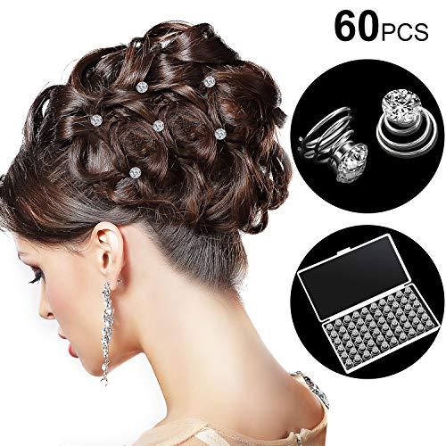 60 Stücke Strass Kristall Spirale Set Spiral Haarnadel Silber Spule für Hochzeit, Braut, Abschlussball, Party und Besondere Anlässe mit Durchsichtigem Behälter