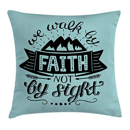 FULIYA Throw Pillow Cases Decorative Soft Square, We Walk Faith Not Sight Typography Art Mountain Hills,Throw Pillow Cover Cushion Case for Sofa 16x16 Inch