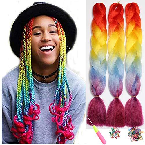 Ombre Jumbo Zöpfe Haar Flechten Haar Kanekalon, ShowJarlly Synthetische Haarverlängerungen 24 inch (60 cm) 300g / 3Pcs, (D4#Orange/Yellow/Blue/Purple Red)