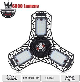 LZL 60W 6000lm LED Garage Lights with 3 Adjustable Panels