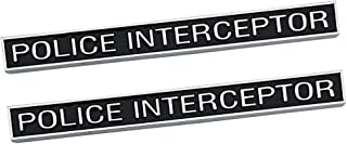 2Pc Police Interceptor Emblem, 3D Badge Truck Decal Nameplate Sticker Replacement for Ford Explorer (Chrome black)