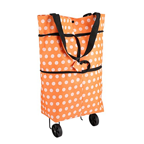 Borsa per la Spesa con Le Ruote Tessuto Oxford Pieghevole Sacchetto per Il Trasporto di Borse a Tracolla Tote Multifunzione (Orange)