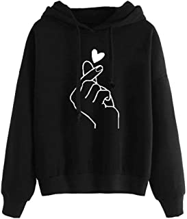 YEMOCILE Than Love Heart Graphic Women Sweatshirt Long Sleeve Pullover Hoodies Tops for Girls Teens Blouse Tops
