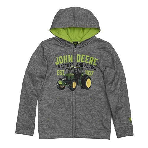 John Deere Big Boys Fleece-Kapuzenpullover mit Reißverschluss vorne, Polyester, Grau, M (10-12)