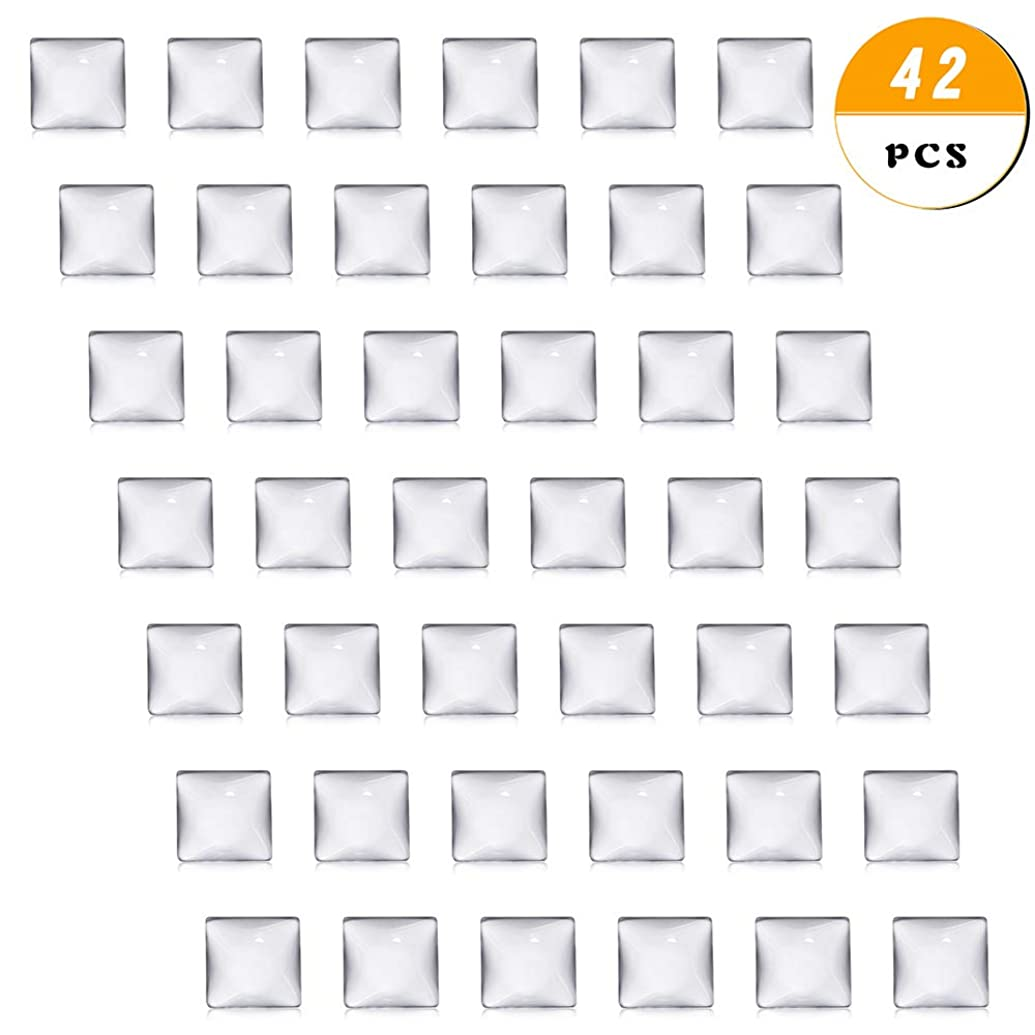 40 pcs Clear Glass Dome Tile Cabochon Square Flat Clear 1 inch (25.4mm) Non-calibrated Square for Photo Pendant Craft Jewelry Making