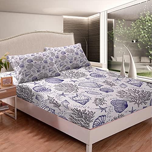 Juego de sábanas bajeras con fondo blanco con funda de color gris, color azul coral para niños, adolescentes, dormitorio, decorativo 3 piezas (1 sábana bajera y 2 fundas de almohada) tamaño king