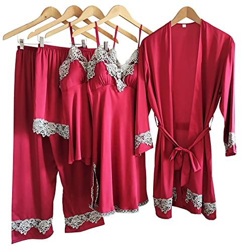 Laura Lily - Pijamas Mujer de Satén Sedoso Color Liso con Encaje Conjunto de 5 Piezas (Rojo, M-L)