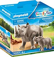 Features one adult rhino and one calf Both animals feature movable heads Adult rhino comes with movable legs A great addition to the Large Zoo range