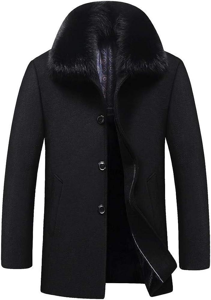 Allywit Men's Winter Warm Sheep Faux Fur Coat Jacket Lamb Wool Lined Plus Size
