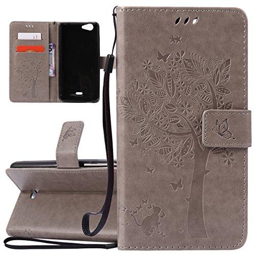ISAKEN Compatibile con Wiko Pulp Fab 4G Custodia, Libro Flip Cover Portafoglio Wallet Case Albero Design in Pelle PU Protezione Caso con Supporto di Stand/Carte Slot/Chiusura - Grigio