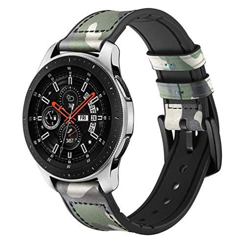 HappyTop Armband aus Leder und Silikon für Samsung Galaxy Watch 42 mm / 46 mm Camouflage Armband Samsung Watch Band, Unisex, (46mm) Camouflage Green