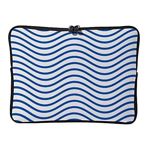 DKISEE - Custodia con motivo a onda sinusoidale, compatibile con notebook, MacBook Air e MacBook Pro da 10', colore: Blu