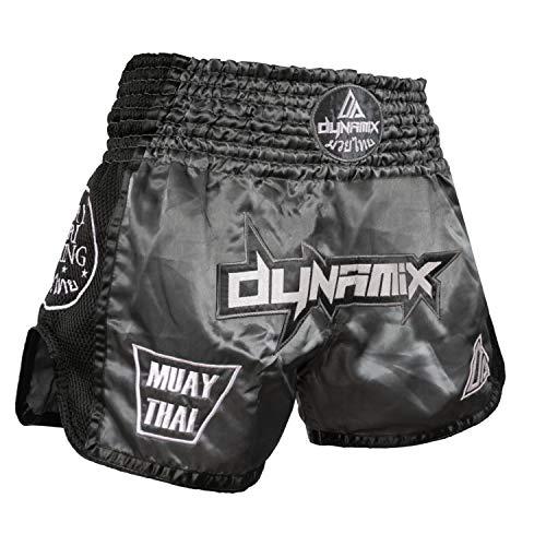 Short Thai Premium pour Pantalon thaibox pour Hommes Thaiboxes Traditionnel avec Tissu Air-Tech Dynamix Athletics Short Muay Thai Warpath Noir