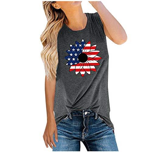 sdfs Camisetas sin mangas de verano para mujer con estampado de bandera americana