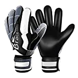 Goalie Goalkeeper Gloves with Fingersaves & Super Grip 3+3mm Latex Palms Soccer Goalkeeper Gloves for Youth, Adult (Black-White, 8)