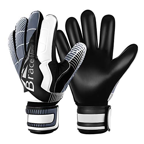 Goalie Gloves for Youth & Adult, Goalkeeper Gloves Kids with Finger Support, Black Latex Soccer Gloves for Men and Women, Junior Keeper Football Gloves for Training and Match (Black-White Size 10)