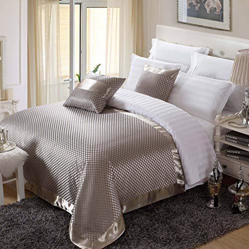 OSVINO Bettläufer Jacquard Kariert Retro Exquisite Schnell-Trocken Anti- Bakterie Bett-Deko Betttuch für Schlafzimmer Hotelzimmer, Silber 260x 155cm für 200cm Bett