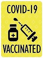 ワクチン接種済み ステッカー [デザイン:b.YE - 1.VACCINATED] 約147×108ミリ 大きめ マグネットステッカー マグネットシート 磁石