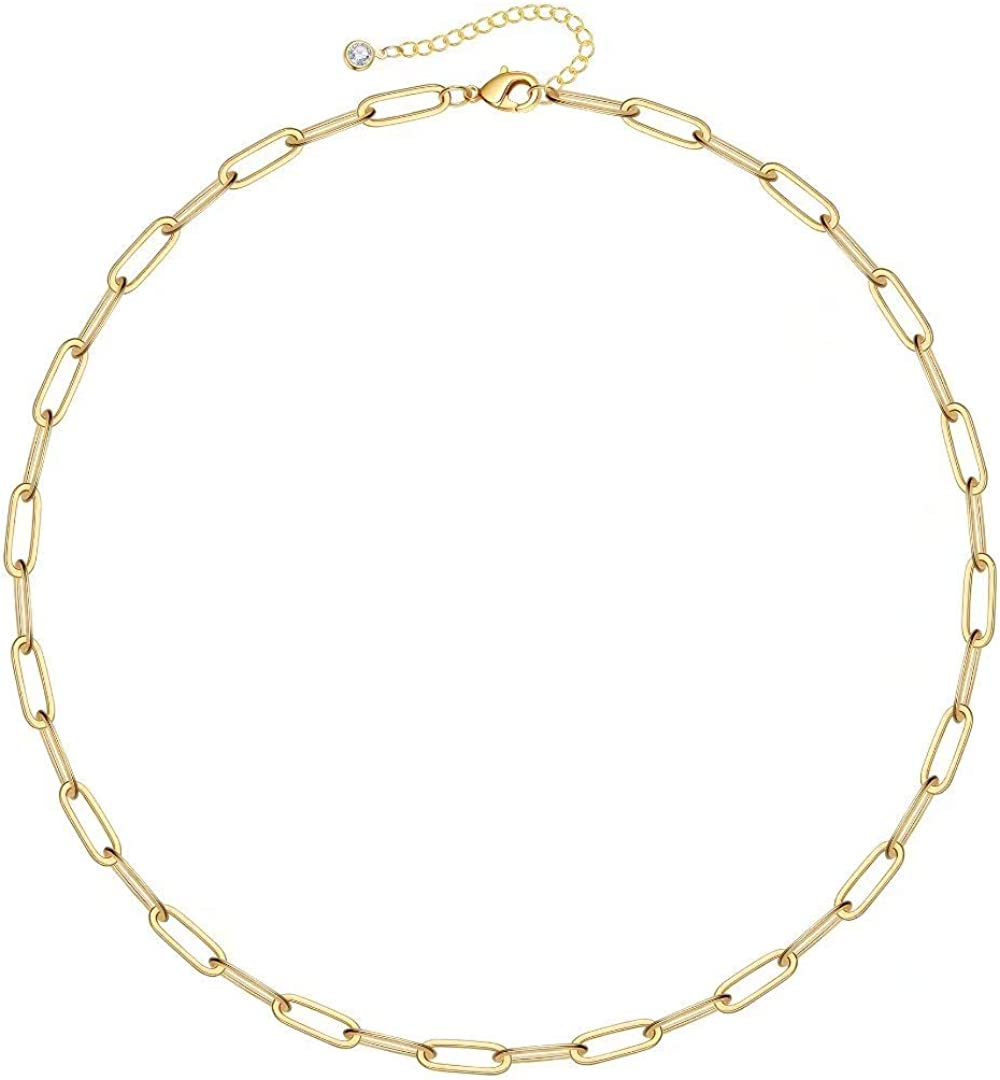 IEFSHINY Gold Paperclip Link Chain Necklace Bracelet Anklet, 14K Gold Plated Dainty Oval Link Chain Necklace Bracelet Anklet Paperclip Chain Gold Jewelry for Women Girls