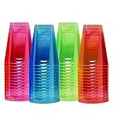 Matana 80 Vasos de Fiesta de Plástico Duro de Neón, 210ml - Resistente