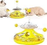 Wenday Vaso de Juguete para Gatos 5 en 1, Plato Giratorio con Fugas, Juguete Interactivo de béisbol para Gatos, Divertido Juguete Interactivo de béisbol para Gatos, Divertido Juguete Interactivo (B)