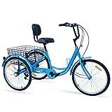 Ey Adult Tricycle, 3 Wheel Bike Adult, Three Wheel Cruiser Bike 24 26 inch Wheels, 7 Speed, Adjustable Seat and Handlebar, Multiple Colors (Aqua Blue, 24' Wheels/7-speed)