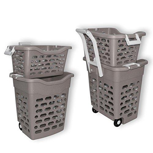Wilai Wäschekorb Wäschesammler Wäschebox Plastik fahrbar graubrau (Taupe)