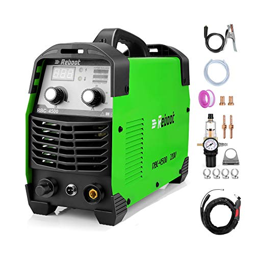 Reboot Plasma Cutter 45 Amp IGBT Inverter RBC4500 AC 220V Air Plasma Cutting 1/2' Clean Cut 15MM Max Cutting High-Frequency Duty Cycle for Aluminum Stainless Mild Steel Copper Iron
