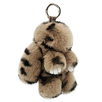 Cute Easter Rabbit Bunny Fur Doll Key Chain for Women Bag Charms Soft Plush Pom Pom Handbag Key Ring Cellphone Car Pendant Decoration  Leopard
