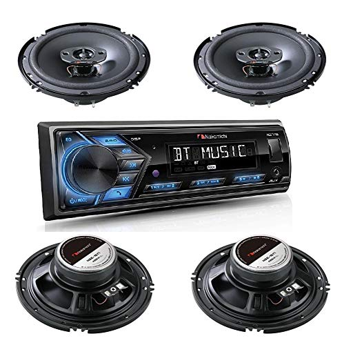 """Nakamichi Bluetooth Single DIN Digital Media AM/FM Radio MP3 USB AUX APP Control Player Car Stereo Receiver Remote Control with 2 Pairs (4 Speakers) 6.5"""" 4-Way Coaxial Speakers Audio System Package"""