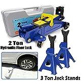 2 Tonne Hydraulic Trolley Floor Jack + 3 Ton Axle Stands Car Van Caravan Lifting Heavy Duty Safety Protection Adjustable Repair Tool Kit