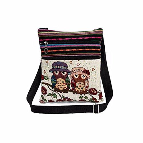 Rucksack Rcool Gestickt Eulen Einkaufstasche Frauen Schulter-Beutel Handtaschen Briefträger Paket (C)