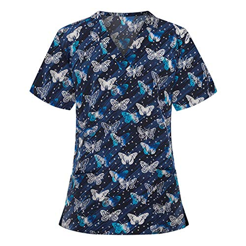 Classic Women Nurses Short Sleeve V-Neck Working Uniform Tops with 2 Pocket Fashion Butterfly Print Tunic Working Blause Women Holiday Scrubs Shirts Workwear for Summer Gifts Navy