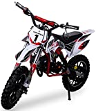 Actionbikes Motors Kinder Mini Crossbike Gazelle 49 cc 2-takt inklusive Tuning Kupplung 15mm Vergaser Easy Pull Start verstärkte Gabel Dirt Bike Dirtbike Pocket Cross (Rot)