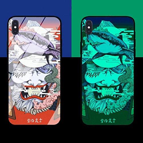 Resplandor Nocturno de Anime Estuche para Teléfono con Cordón Funda Protectora para iPhone Carcasa de Vidrio Templado Antifricción Avatar del Diablo Serie Genial (Compatible con iPhone 12 Pro)
