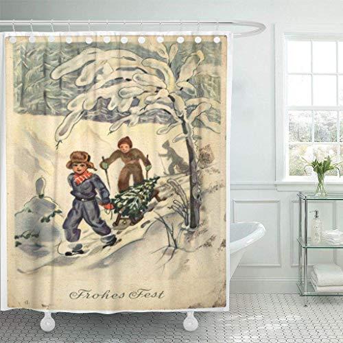 N\A wasserdichte Stoff Duschvorhang Haken DDR Circa 1954 Retro gedruckt in der DDR zeigt Zwei Jungen auf Schlitten von Weihnachtsbaum extra lang 'Badezimmer geruchlos umweltfreundlich